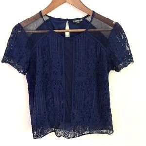 Express Navy Blue Lace Blouse, Size M